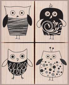 LP131 - four stylish owls