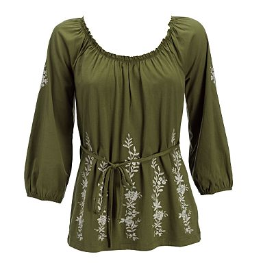 John rocha green floral embroidered top
