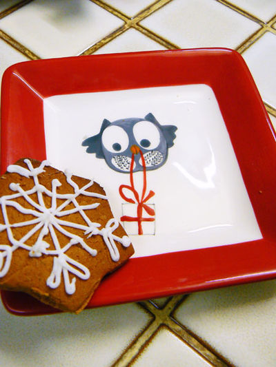Owl plate cookie