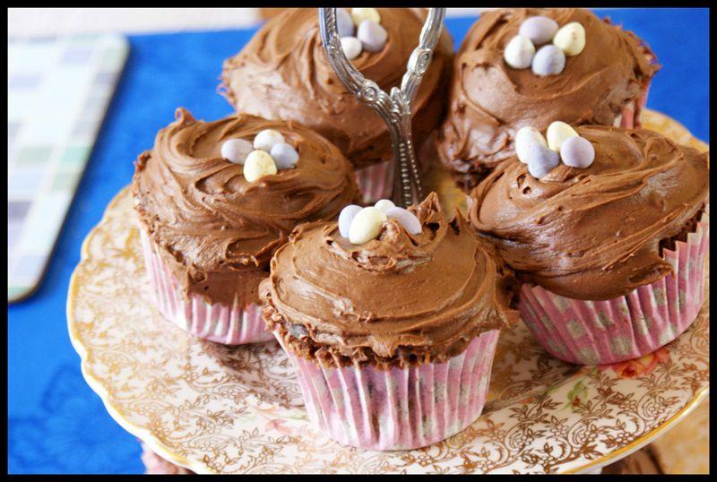 Hummingbird chocolate malted cupcakes