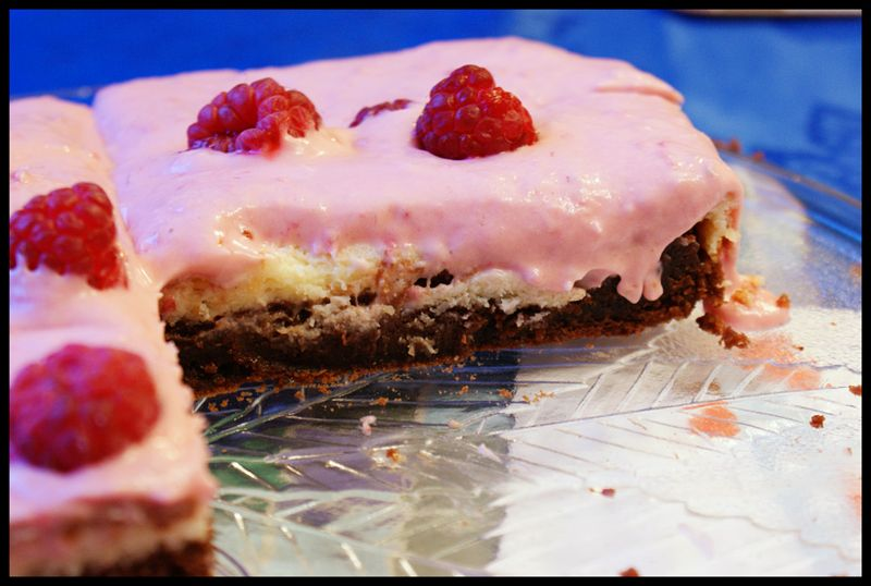 Hummingbird raspberry cheesecake brownie
