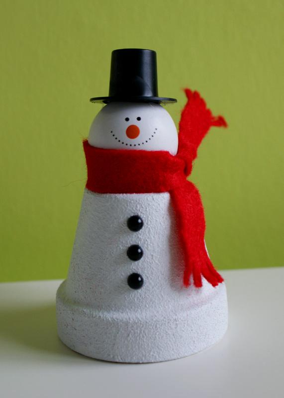 Flowerpot snowman