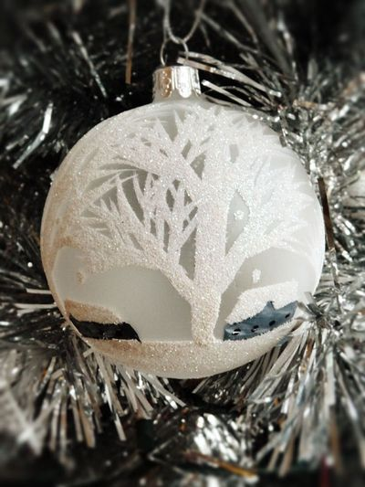 Winter tree and cabin bauble
